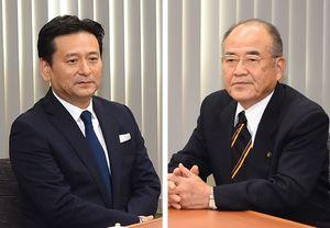 会談に臨む山口祥義知事(左)と秀島敏行佐賀市長=25日午後、佐賀市役所