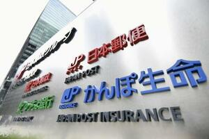 かんぽ生命などの本社が入るビル前に掲げられたロゴマーク=10日午後、東京都千代田区