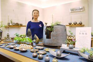 昨年に続き福岡で作陶展を開く糸山玲子さん=福岡市天神の岩田屋新館6階
