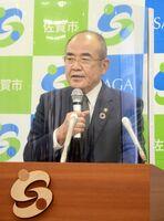 オスプレイ配備計画に対して見解を述べる秀島敏行市長=佐賀市役所