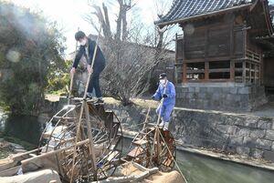 田んぼに水をくみ上げるため、生産者の原口義実さん(右)と一緒に二連水車をこぐ児童=佐賀市東与賀町