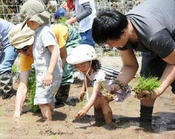 参加した子どもたちも田植えを楽しんだ=鹿島市三河内