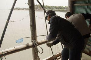 棚じぶで網を引き揚げ、かかった魚やエビをすくい取る=鹿島市七浦