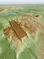 上空からのレーザー測量で判明した「アグアダ・フェニックス遺跡」の大基壇の3Dイメージ(猪俣健・米アリゾナ大教授作成・提供)