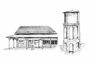 厳木駅舎と給水塔