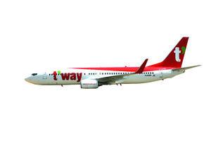 韓国・ティーウェイ航空の機体(佐賀県提供)