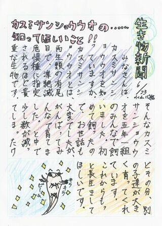 ぺーぱワイド <はがき新聞リレー>第11回 嬉野市立塩田小学校