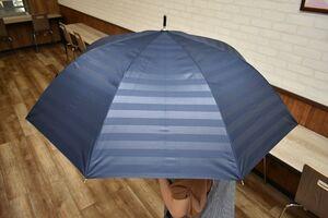 シンプルなデザインの長傘(3000円)。はっ水加工が施されており、雨傘としても使えます。親骨の長さが60センチと大きく、男性にも女性にも人気です