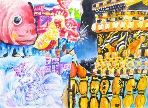 ボスニア・ヘルツェゴビナの子どもから募集した絵画コンクールの入賞作品には唐津くんちの絵も