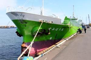 貨物船千勝丸と衝突した貨物船すみほう丸=26日午後、茨城県・鹿島港
