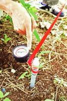 シャインマスカットの園地で導入を推奨しているpFメーター。土壌の乾燥状態を「見える化」し、適期適量のかん水を可能にする