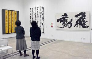 高校の書道教師の大作が並ぶ書作展=佐賀市の佐賀大学美術館