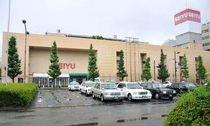 閉店から3カ月。解体準備が進められている西友佐賀店=佐賀市のJR佐賀駅前