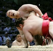 名古屋場所2日目(8日)の竜虎戦で右膝を負傷し、顔をゆがめる安美錦=ドルフィンズアリーナ