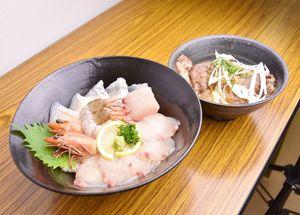 D-1グランプリの投票で1位になったhanaはな家の「唐津海の恵丼」(手前)と「すきテキ丼」(提供)