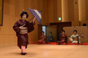 「春雨」の曲に合わせ、優雅な舞を披露する芸妓=小城市のゆめぷらっと小城