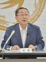 九州新幹線長崎ルートを巡り、所感を述べたJR九州の青柳俊彦社長=福岡市の同社