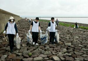 干潟保全のためごみ拾いをする鹿島市のパートナー企業の社員ら=鹿島市常広の新籠海岸