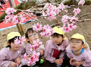 ビニールハウス内で桃の花を見上げる園児=14日午前、山梨県笛吹市
