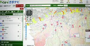佐賀市が公開したウェブ版ハザードマップ。避難所など防災施設に関する情報も確認できる