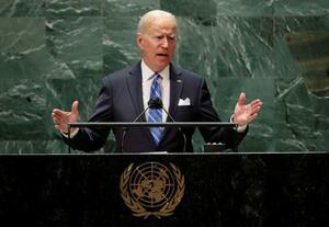 21日、国連総会で演説するバイデン米大統領=ニューヨーク(ロイター=共同)