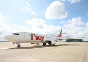 佐賀空港に就航している韓国のLCC「ティーウェイ航空」の機体