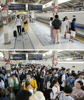 お盆休みの帰省シーズンに入ったJR東京駅の東海道新幹線ホーム。昨年(下)のような激しい混雑はなかった=8日午前