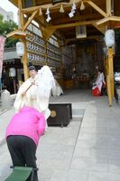 神職からおはらいを受ける参拝者=佐賀市松原の松原恵比須社