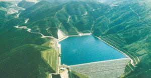 上空から見た天山ダム(提供写真)=唐津市厳木町