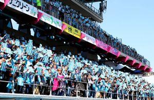 サガン鳥栖のサポーターナンバー「17」のクラップバナーを掲げ、選手に声援を送るサポーター=3月17日、鳥栖市の駅前不動産スタジアム
