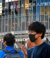 東京都の新型コロナ新規感染者数が初の4千人台に上ったことを伝える電光掲示板=31日午後、東京・渋谷