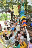 混乱が続くミャンマーに向け、七夕の短冊に平和への願いを込めた園児=佐賀市大和町の保育園ひなた村自然塾