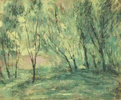 岡田三郎助「新緑」(1929年、37・9センチ×45・4センチ、県立美術館蔵)