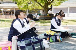 木陰に腰を下ろし、筆を動かす高校生たち=佐賀市の市村記念体育館前