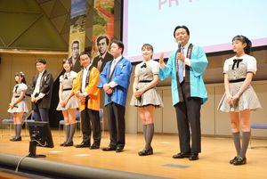 薩長土肥の功績を紹介する4県知事によるフォーラムで、佐賀県の魅力を説明する山口祥義知事(右から2人目)=東京都江東区の東京ビッグサイト
