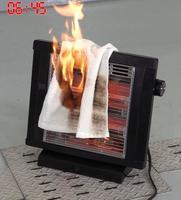 電気ストーブにタオルが落ちた火災の再現実験(NITE提供)