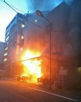 炎を上げる東京都千代田区九段南の建物=14日午後5時半ごろ(提供写真)