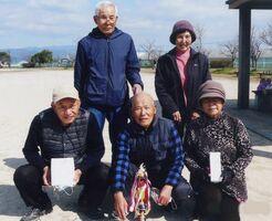 清風大学4期グラウンドゴルフ愛好会2月例会の上位入賞者ら