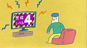 動画のワンシーンで、「災害レベル4」が発令されて慌てる男性キャラクター(佐賀県提供)