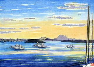 「夕暮れの筑後川」歴史豊かな大河