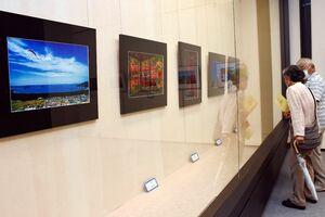 個性豊かな作品が並ぶ「からつ写友会」による写真展=唐津市近代図書館