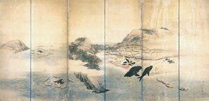 「小川島捕鯨図屏風」左隻(江戸時代後期、森一鳳作、縦117・7センチ)