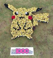 ギネス世界記録に認定された「ピカチュウ」の巨大人文字=神埼市郡の吉野ケ里歴史公園(佐賀県提供)