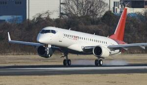 スペースジェットの試験機=3月、愛知県営名古屋空港