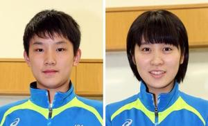 張本智和(左)と、平野美宇