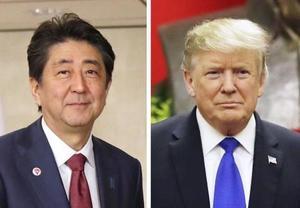 安倍晋三首相、トランプ米大統領(AP=共同)