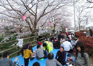「感謝の集い桜まつり」の参加者=佐賀市兵庫北のゆめタウン佐賀東側水路脇の広場