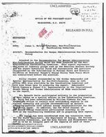 日本の再処理とプルトニウム利用を促す米政策文書。1981年1月のレーガン政権発足に合わせ政権関係者が作成した(国家安全保障公文書館提供)