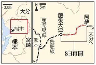熊本地震被災のJR豊肥線再開