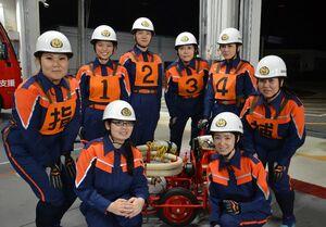 来月の全国大会に出場する唐津市消防団の女性隊員たち